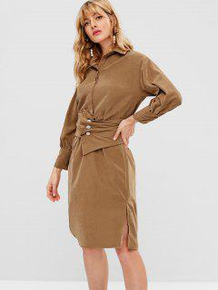 Slit Drop Shoulder Dress With Long Sleeves - Light Brown