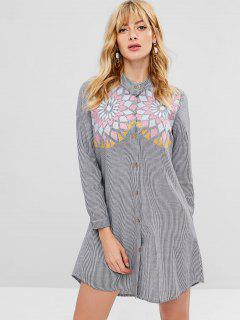 Striped Embroidered Front Shirt Dress - Multi L