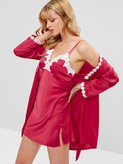 Vestido De Satén Con Adorno De Encaje Y Bata De Dormir - Rojo L