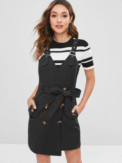 Belted Button Down Pocket Mini Dress - Black L