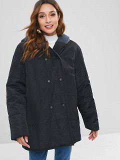 Combined Knit Panel Quilted Winter Coat - Black Xl
