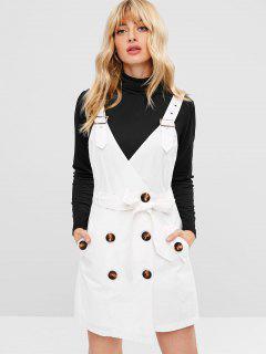 Mini Vestido De Bolsillo Con Botones Y Cinturón - Blanco L