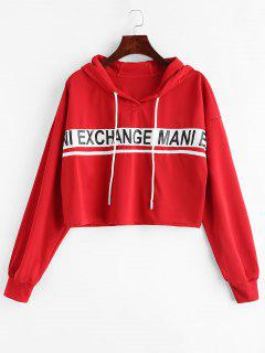 Cropped Patched Graphic Hoodie - Lava Red M