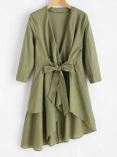 Tie Front High Low Crossover Dress - Army Green M