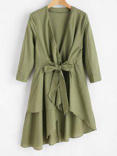 Robe Croisée Haute Basse Nouée En Avant - Vert Armée M
