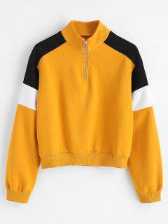 Quarter Zip High Collar Fleece Sweatshirt - Mustard S