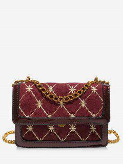 Geometric Pattern Chain Crossbody Bag - Red Wine