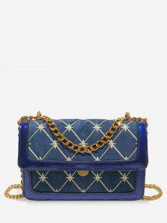 Geometric Pattern Chain Crossbody Bag - Blue