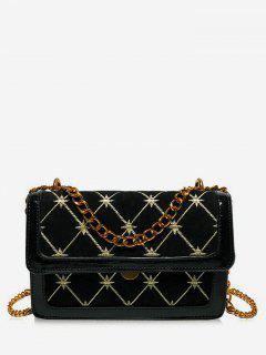 Geometric Pattern Chain Crossbody Bag - Black