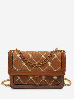 Geometric Pattern Chain Crossbody Bag - Brown
