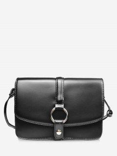 Round Hole Embellished Mini Crossbody Bag - Black