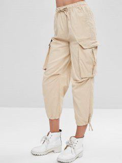 Drawstring Capri Cargo Pants - Light Khaki