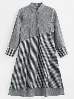 Gingham Patchwork Midi Shirt Dress - Multi S