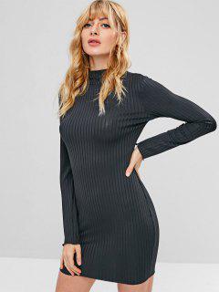 Mock Neck Stripe Long Sleeves Mini Dress - Black M