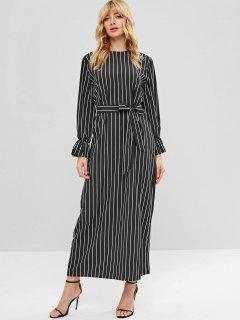 Striped Shift Maxi Dress - Black L