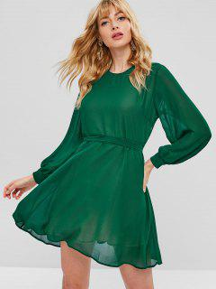 Belted Keyhole Back Mini Dress - Medium Forest Green M
