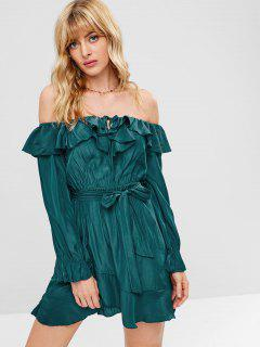 Off Shoulder Belted Ruffle Dress - Peacock Blue L