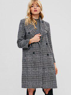 Double Breasted Houndstooth Tweed Coat - Multi S