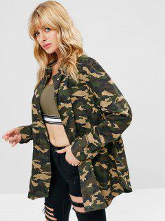 Snap Button Pocket Longline Coat - Acu Camouflage L