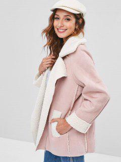 Faux Shearling Winter Biker Coat - Pink M