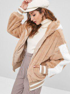 Graphic Color Block Hooded Fuzzy Coat - Camel Brown L