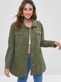 Snap Button Pocket Longline Coat - Fern Green M