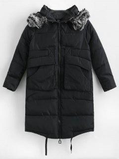 Quilted Faux Fur Hood Winter Coat - Black Xs