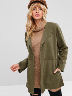 Manteau Long Drapé En Avant à Goutte Epaule - Vert Camouflage L