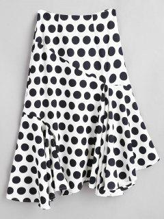 Asymmetric Polka Dot Skirt With Flounce - White S