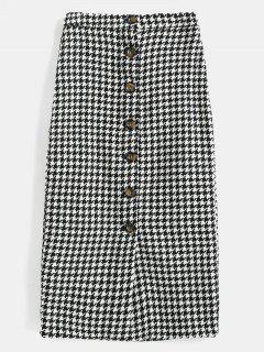 Houndstooth Button Fly Skirt - Multi L