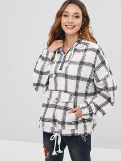 Checked Brushed Oversized Hoodie - Multi M