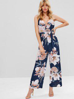 Floral Surplice Wide Leg Jumpsuit - Deep Blue L