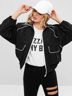 Contrasting Binding Oversized Jacket - Black