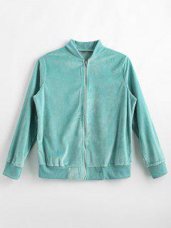Zip Front Velvet Jacket - Macaw Blue Green L