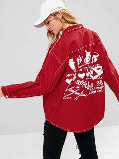 Patch Pockets Oversized Denim Jacket - Red S