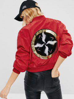 Embroidered Sequined Souvenir Bomber Jacket - Red M