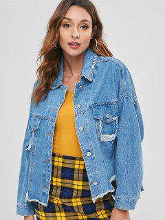 Distressed Oversized Denim Jacket - Denim Blue S