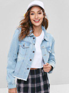 Light Wash Frayed Western Denim Jacket - Denim Blue M
