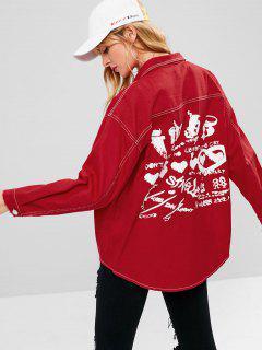 Patch Pockets Oversized Denim Jacket - Red L