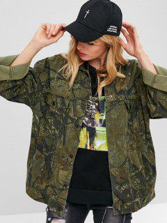 Printed Oversized Denim Shacket Jacket - Army Green L