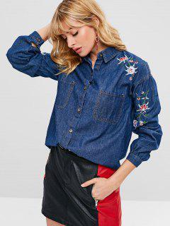 Flower Embroidered Pocket Chambray Jacket - Cobalt Blue S