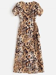 Maxi Leopard Wrap Casual Dress - Leopard M