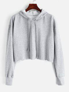 Oversized Raw Cut Cropped Hoodie - Gray M