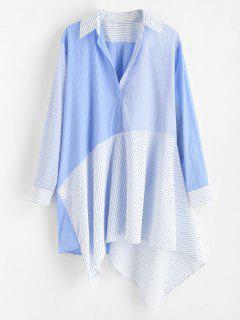Robe Chemise Patchwork Rayée à Manches Longues - Bleu De Ciel  L
