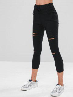 Drawstring Cutout Skinny Pants - Black Xl