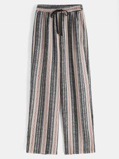 Striped High Waisted Wide Leg Palazzo Pants - Multi L