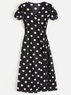 Polka Dot Wrap Tie Up Maxi Dress - Black S