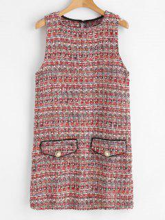 Sleeveless Tweed Shift Dress - Multi M