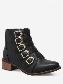 Chunky Heel Buckle Strap Ankle Boots - Black Eu 37