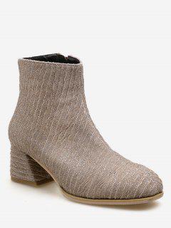 Block Heel Textured Short Boots - Orange Pink Eu 38